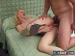 Cute blonde gives a blowjob and does anal