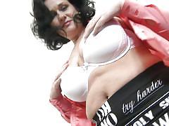 Chubby lady undresses