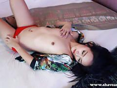 Pretty lita charat strips and plays with toy