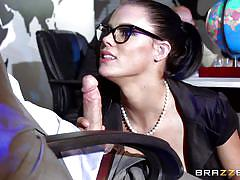 babe, glasses, office, blowjob, busty, brunette, pov, at work, big tits at work, brazzers network, johnny sins, peta jensen
