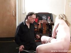 Blonde bondage babe amber west as damsel in distress and restrained fetish slave