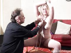 blonde, babe, fetish, bondage, slave, and, tied, amber, west, livingroom, ropes, restrained, damsel, distress