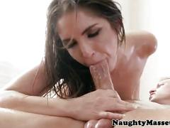 Masseuse giselle leon gives oily rub down