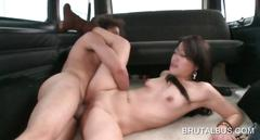 Amateur nymph pussy drilled to orgasm in the bus
