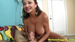 Handjob milf tugs dick pov before cumshot