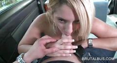 Cute blonde fellating fat cock in the sex bus