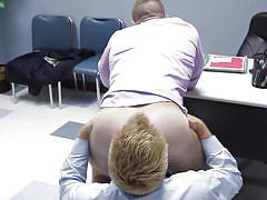 Horny co-workers fuck on the office table