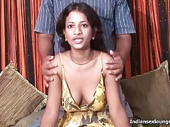 Indian has her nipples sucked and strokes cock