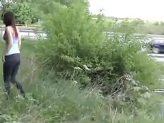 Sexy girl banged next to the motorway