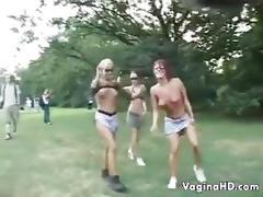 Wild european lesbians in public outside