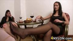 Worshipping these ladies sexy pantyhose