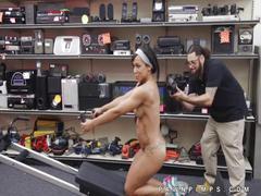 Naked black girl uses gym gear