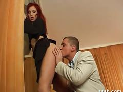 Gorgeous redhead tastes her own tight pussy juices