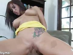 Busty brunette jayden james fucks a big hard cock.