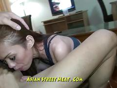 Sodded anal asian over coffee table