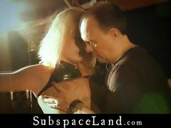 Collared and leashed blonde slaves takes master's cum