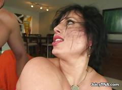 Horny husband continues pounding carmen and her tight asshole