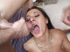 Hot brunette mama in yellow lingerie takes big black dildo in the ass