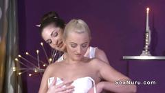 Oiled european blonde gets nuru massage