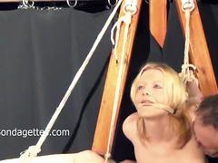 blonde, amateur, submissive, domination, bondage, gagged, and, tied, sexual, rope, restraints, dungeon, damsel, distress, weekays