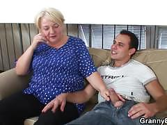 Blonde granny gets banged hard by a young stud