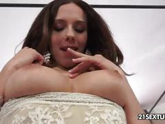 Tracy pleases her pussy into multiply orgasms with her dildo