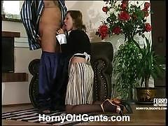 Older dude bangs a young and very horny maid