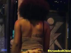 Stranded busty ebony gives head for a ride