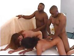 Two crazy horny milfs rough fuck with black guys