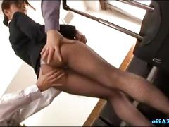 Hot secretary in stockings getting her pussy stimulated with vibrator tits rubbe