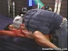 Hot asian babe teasing and cock sucking