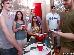 Busty milfs in a beer pong game