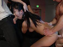 Skinny asian satisfies a lot of penises