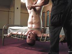 Dude gets his dick jerked while being tied