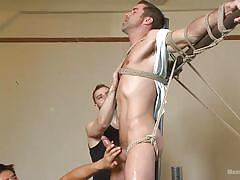 threesome, handjob, torture, punishment, tied up, suspended, gay blowjob, gay, men on edge, kink men, justin beal