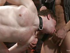 tattoo, leather, ass fingering, tied up, sex slave, gay blowjob, gay threesome, leather collar, gay anal sex, bound gods, kink men, adam ramzi, doug acre, christian wilde