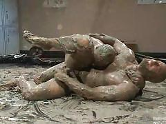 Gay dudes wrestling in mud