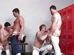 Orgy in the football locker room