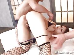 Busty asian in fishnets gets her first threesome