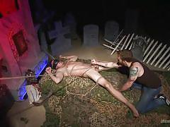 Blindfolded guy enjoys in bdsm