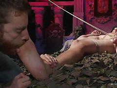 Blindfolded guy enjoys in bdsm