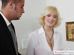 Busty blonde gets drilled  hard in the office
