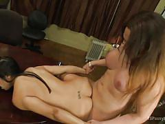 Tranny bangs a cock hungry bitch