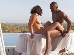 Erotic pussy penetration by the pool