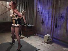 bdsm, stockings, lesbian domination, dildo fuck, busty milfs, blonde mistress, ball gagged, ass whipping, pussy clamp, whipped ass, kink, bella rossi, aiden starr