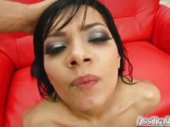 Angel gets rough ass fuck and swallows that cum and