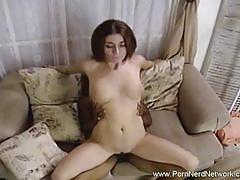 Busty brunette babe sucks and rides big black cock