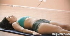 Naked yoga session with 2 sexy babes and their busty trainer