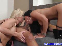 Housewives threeway with hubby and a slutty hooker