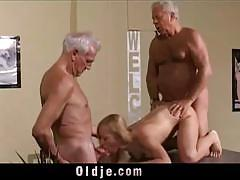 Busty bibi fox fucking two pervert old geezers